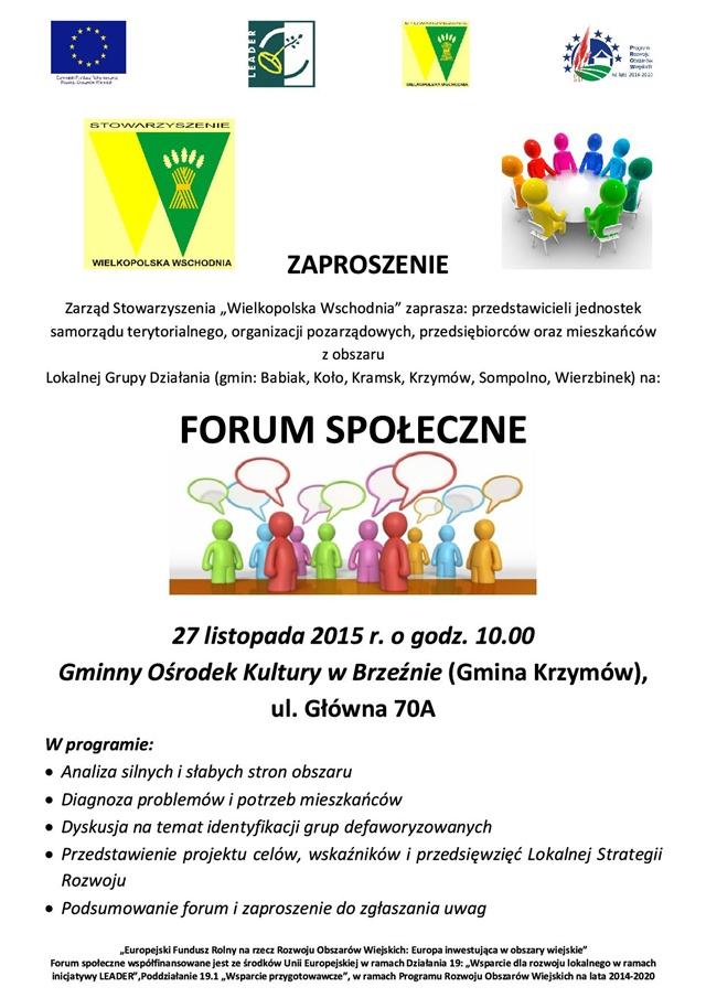 Forum społeczne Stowarzyszenie W_ielkopolska Wschodnia
