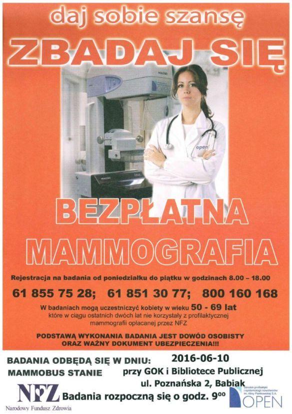 Badania mmamograficzne 10 czerwca 2016 roku, plac przed GOK i BP w Babiaku.