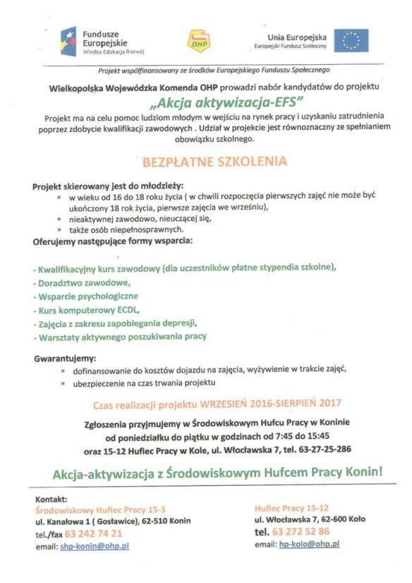Projekt szkoleń dla młodzieży organizowany przeż OHP oddział Konin.