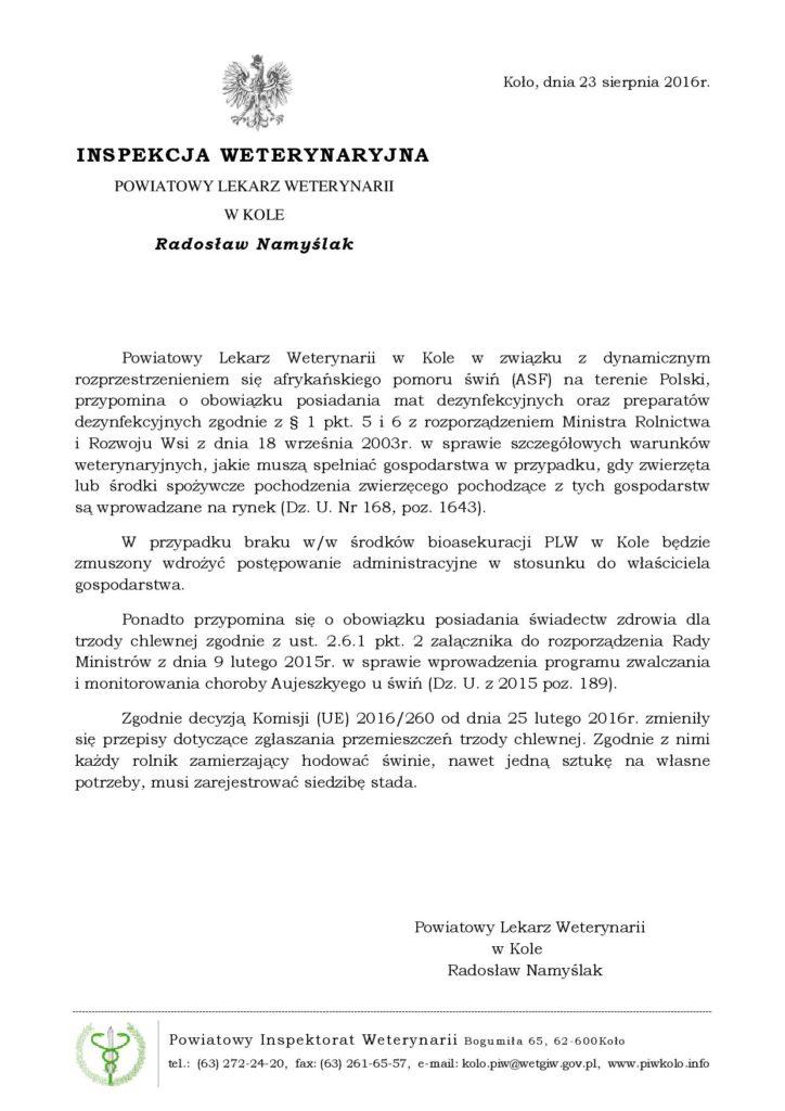 W związku z dynamicznym rozprzestrzenieniem się afrykańskiego pomoru świń (ASF) na terenie Polski, przypomina o obowiązku posiadania mat dezynfekcyjnych oraz preparatów dezynfekcyjnych.