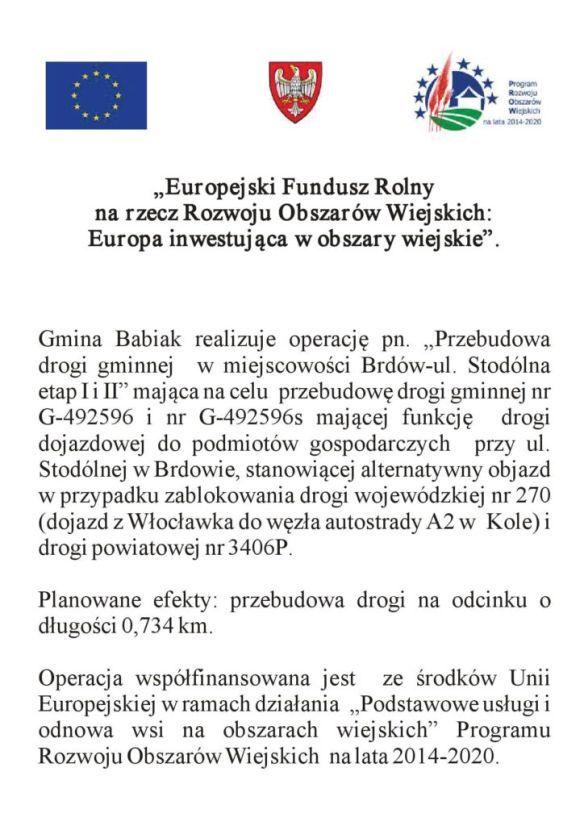 Przebudowa drogi gminnej w miejscowości Brdów-ul. Stodólna etap I i II