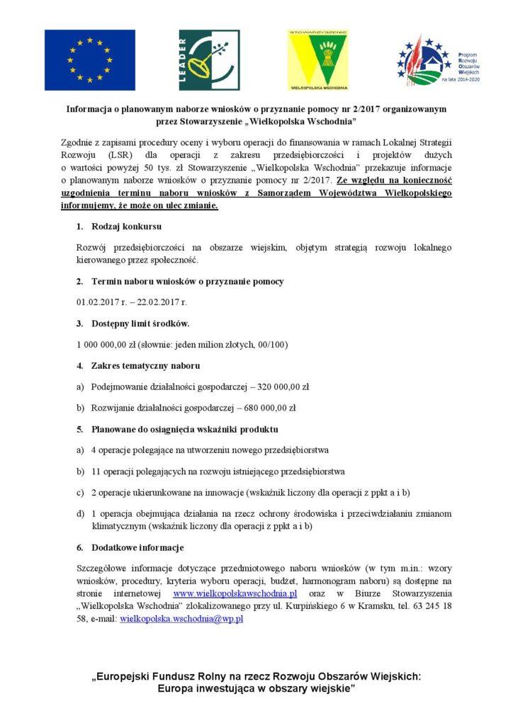 Informacja o planowanym naborze wniosków na dosinansowanie Stoważyszenie Wielkopolska Wschodnia.