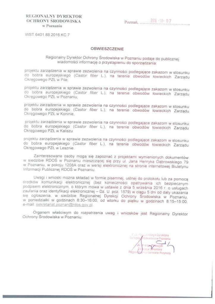 Obwieśczenie Regionalnego Dyrekotora Ochrony Środowiska w sprawie zezwoleń na czynności podlegające zakazom w stosunku do bobra europejskiego.