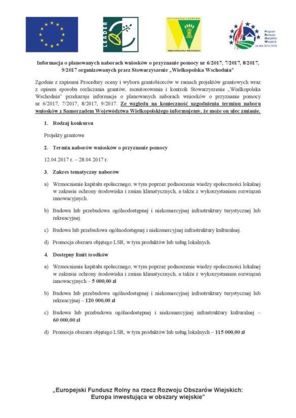 Projekty grantowe, planowane terminy naboru wniosków o przyznanie pomocy 12.04.2017 - 28.04.2017 r. szczegóły - stoważyszenie wielkopolska wschodnia.