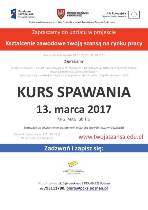Kurs zawodowy na spawacza, więcej informacji  w biurze projektu tel. 793111780 www.twojaszansa.edu.pl
