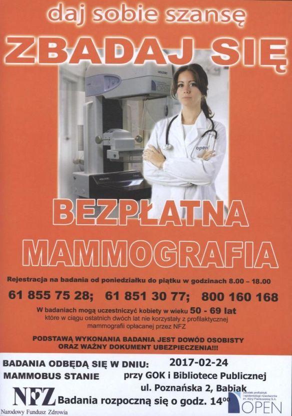 Bezpłatne badania mammograficzne, obok GOKiBP w Babiaku, rejsetracja pod nr: 618557528, 618513077, 800160168