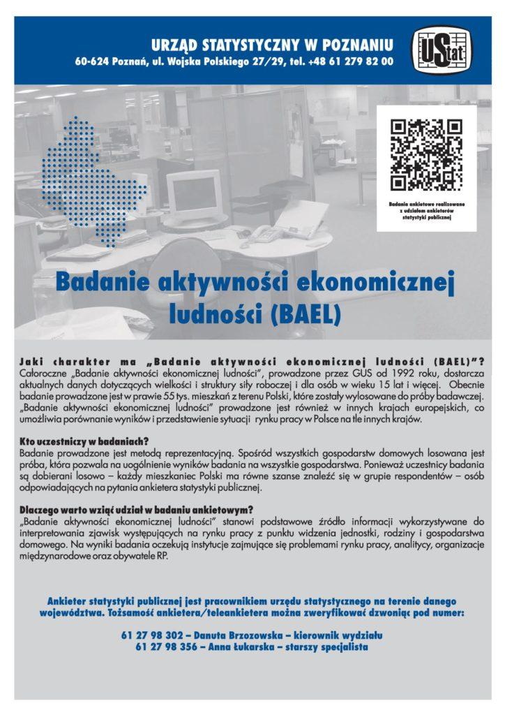 Badanie aktywności ekonomicznej ludności (BAEL) Urząd Statystyczny w Poznaniu.