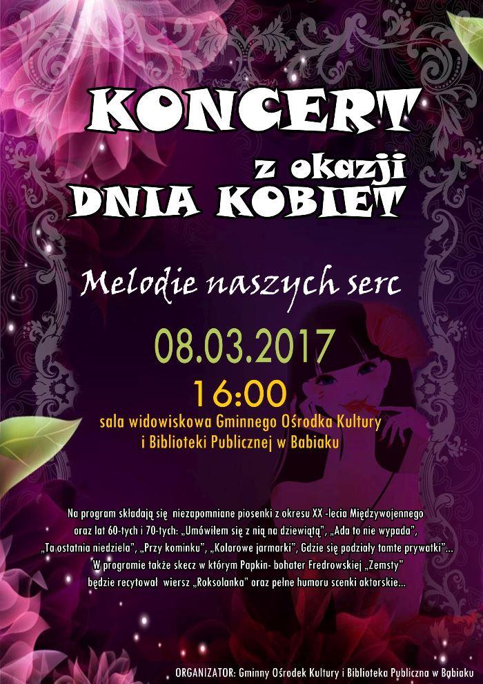 Dzień kobiet, GOKiBP w Babiaku zaprasza na godz. 16:00 08.03 na program artystyczny..