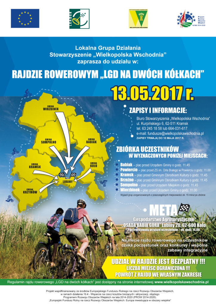 Rajd rowerowy organizowany przez stowarzyszenie Wielkopolska Wschodnia.