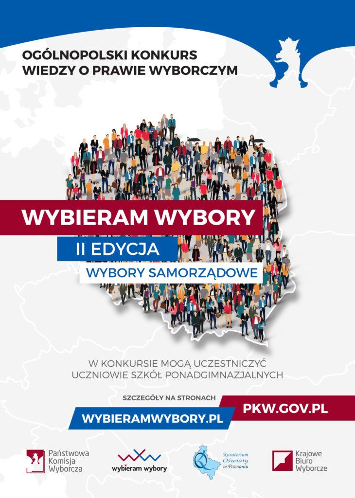 Państwowa Komisja Wyborcza wraz z Krajowym Biurem Wyborczym zaprasza do II edycji Ogólnopolskiego Konkursu Wiedzy o Prawie Wyborczym ,,Wybieram Wybory''. Konkurs przeznaczony jest dla uczniów szkół ponadgimnazjalnych.