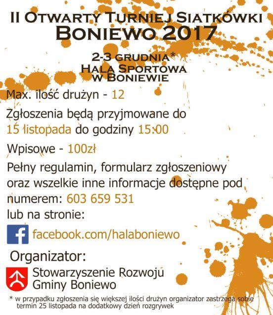 2-3 grudnia Hala Boniewo, zgłoszenia do 15.11 do godz.15:00 więcej informacji tel. 603 659 531