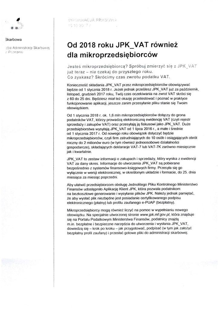Informacja o jednolitym pliku kontrolnym dla mikrofirm.