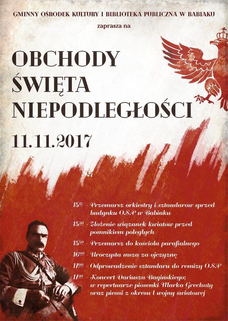 Obchody święta Nioepodległości. więcej informacj GOK i BP w Babiaku 632711066
