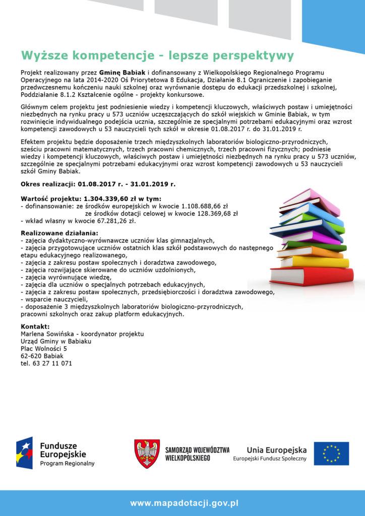Plakat projektu realizowanego w szkołach Gminy Babiak pn. wysze kompetencje - lepsze perspektywy
