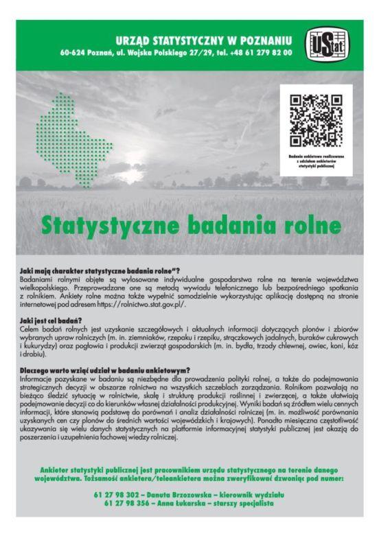 Informacja o statystycznych badabiach rolnych więcei informacji na https://rolnictwo.stat.gov.pl