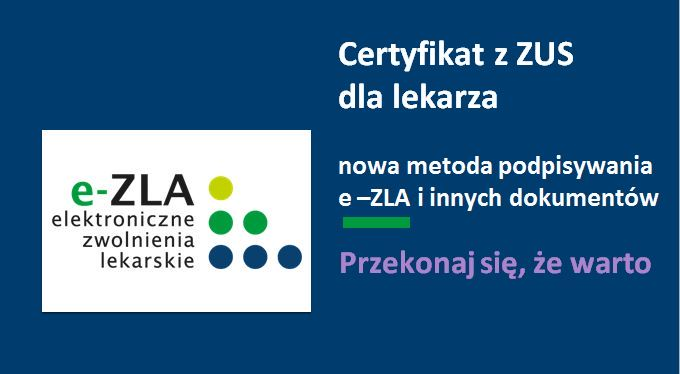 Logo certyfikat z ZUS dla lekarza.
