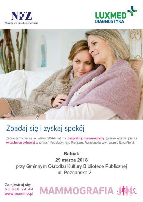 Badania mamograficzne przed GOK i BP w Babiaku, 29 marca 2018 roku.