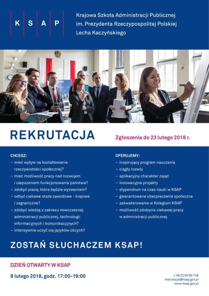 Plakat rekrutacja do Krajowej Szkoły Administracji Publicznej.