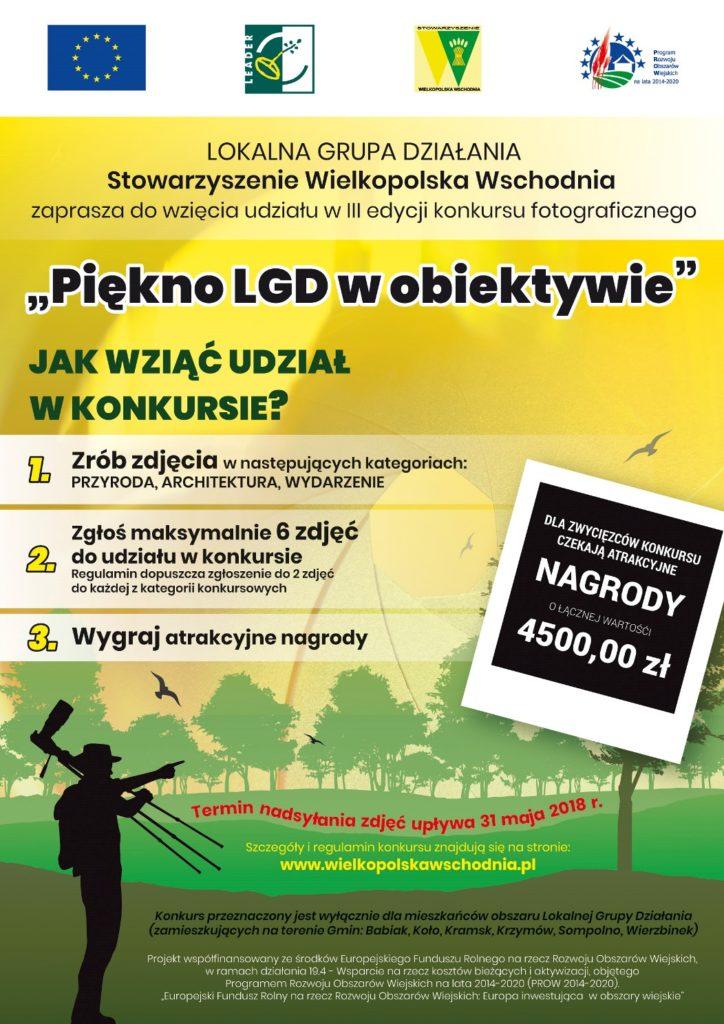 """Konkurs fotograficzny """"Piękno LGD w obiektywie"""" organizator stoważyszenie Wielkopolska Wschodnia."""