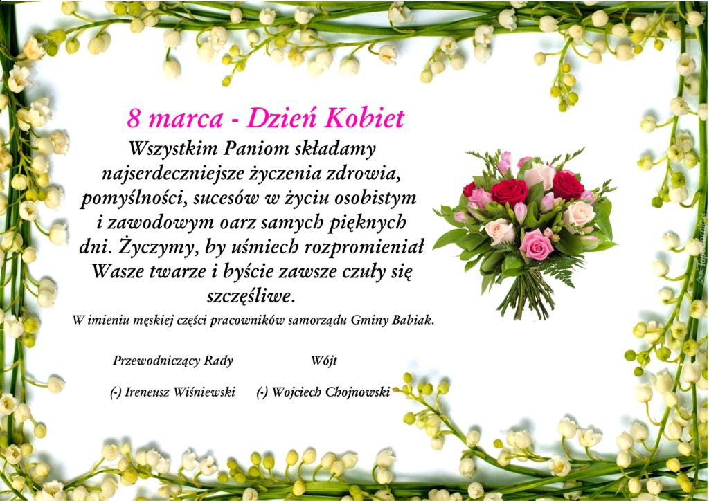 Życzenia wszelkiej pomyślności dla wszystkich Pań z okazji Dnia Kobiet.