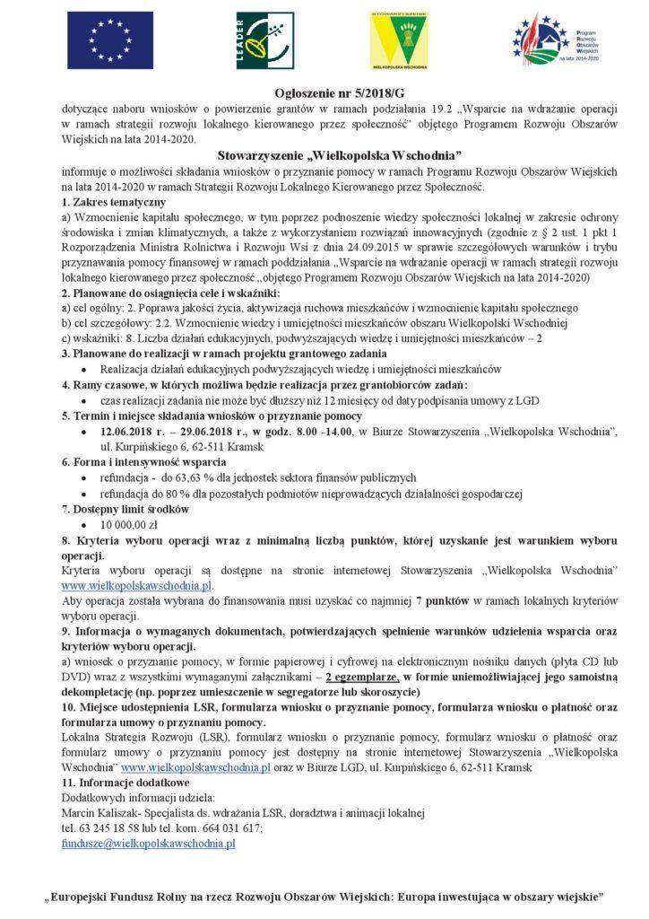 ogłoszenie 5-2018-G edukcja