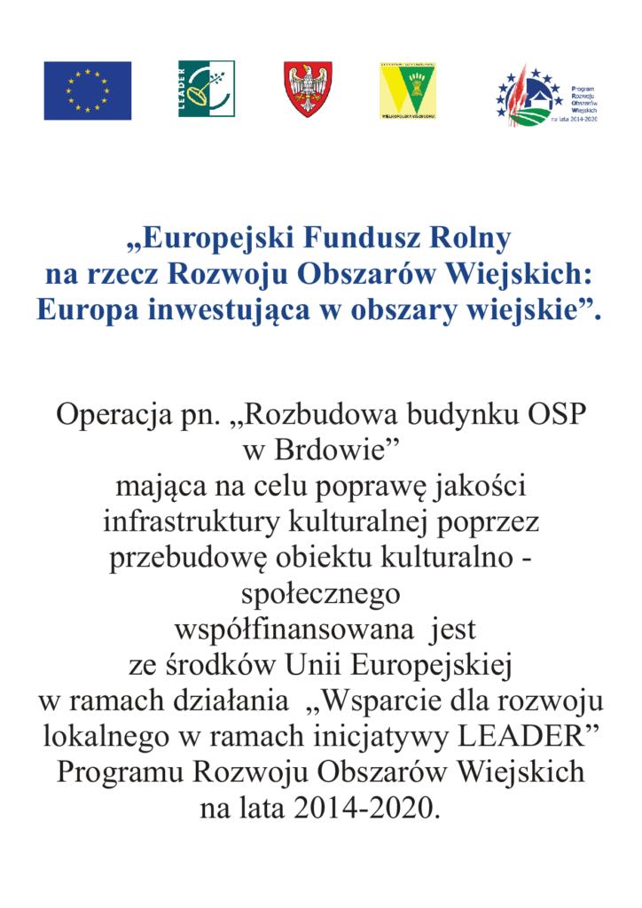 Informacja o otrzymaniu dofinansowania na operacje pod nazwą Rozbudowa budynku OSP w Brdowie
