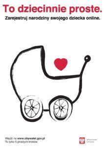 Plakat, zarejestruj narodziny swojego dzecka online.