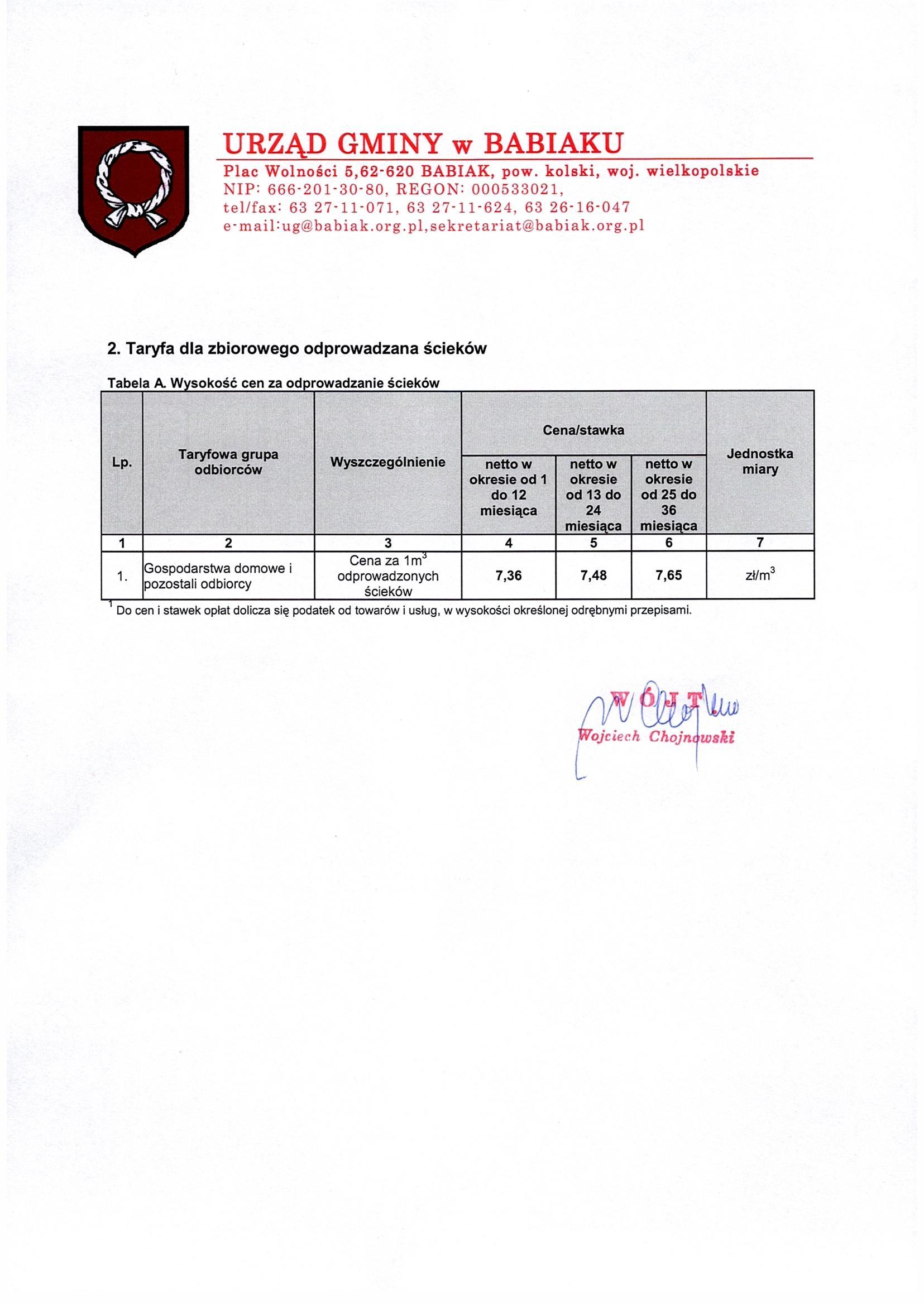 2. Taryfa dla zbiorowego odprowadzania ścieków cena za 1 m3: 1-12 miesięca - 7,36 zł netto, 13-24 miesiąca 7,48 zł netto, 25-36 miesiąca 7,65 zł netto