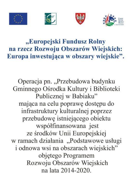 Informacja o przebudowei GOKiBP dofinansowanie z Unii Europiejskiej