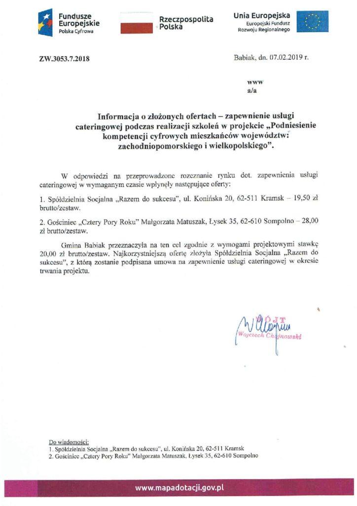Informacja o złozonych ofertach na catering więce Pan Radosław Bartczak 632711071