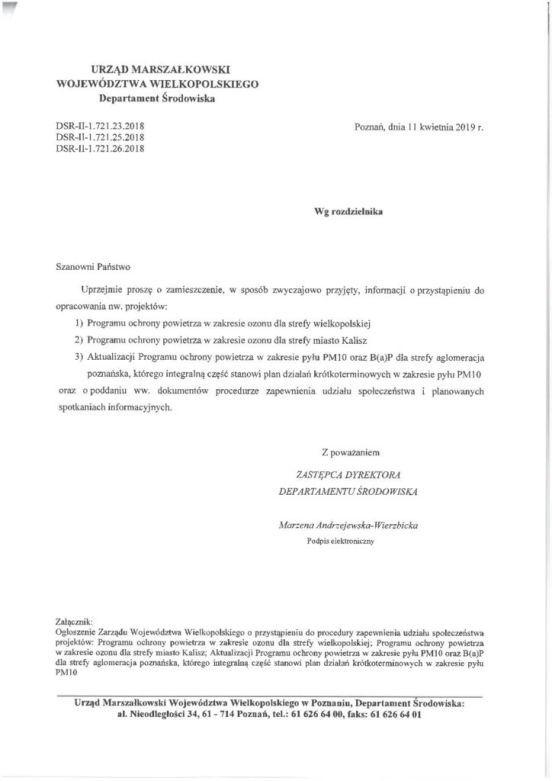 Pismo przewodnie UMWW w Poznaniu dotyczące programu ochrony powietrza.