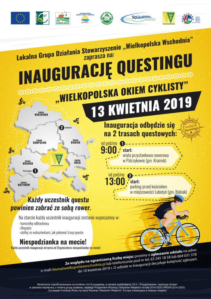 Stoważyszenie Wielkopolska Wschodnia zaprasza na inaugurację questingu w dniu13 kwietna 2019 rou o godz 9 i 13.