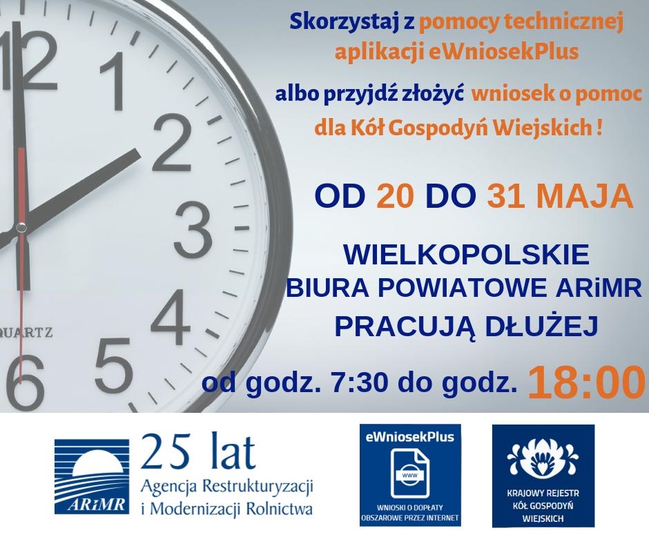 Wielkopolski Oddział Regionalny Agencji Restrukturyzacji i Modernizacji Rolnictwa w Poznaniu informuje, iż w związku z upływającym 31 maja br. terminem składania wniosków o dopłaty bezpośrednie i obszarowe za pomocą aplikacji eWniosekPlus, w dniach od 20 maja do 31 maja 2019 roku biura powiatowe wielkopolskiej ARiMR będą czynne w godzinach od 7:30 do 18:00. W razie jakichkolwiek wątpliwości związanych z obsługą aplikacji rolnicy mogą zgłaszać się do lokalnych biur ARiMR i skorzystać z przygotowanej pomocy technicznej. Wydłużone godziny pracy wielkopolskiej Agencji to także dodatkowa okazja dla kół gospodyń wiejskich do składania wniosków o pomoc na 2019 r.