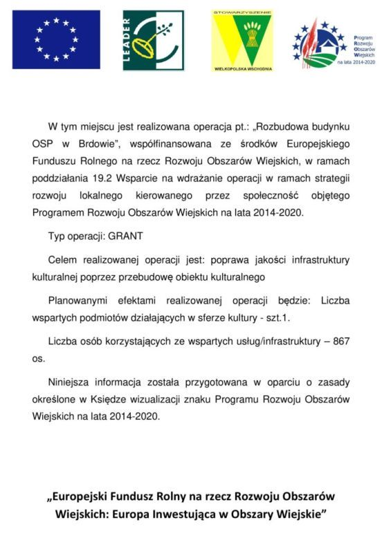 plakat informujacy o otzrymaniu dofinansowania na remont światlicy OSP Brdów zEuropejskiego Funduszu na rzecz rozwoju obszarów wiejskich.