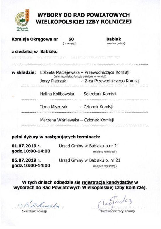 Członkowie Okręgowej Komisji nr 60 pełnią dyżury w dniach: 01.07.2019 i 05.07.2019 w godzinach 10-14 w pokoju nr 21. W tych dniach odbędzie się rejestracja kandydatów w wyborach do Rad Powiatowych Wielkopolskiej Izby Rolniczej.
