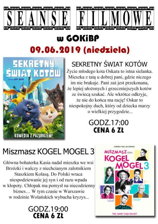seans filmowy w GIKiBP 9.06.2019, godz. 17:00 Sekret kotów cena biletu 6 zł, godz 19:00 Miszmasz Kogel Mogel 3 cena biletu 6 zł.