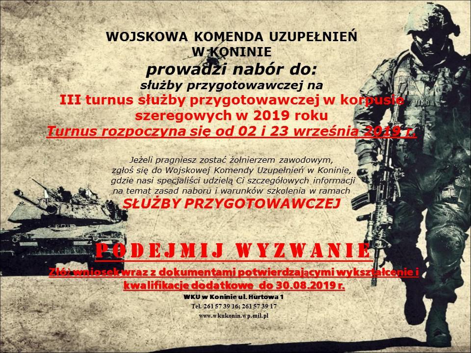 plakat informujacy o naborze do służby przygotowawczej do wojska polskiego.
