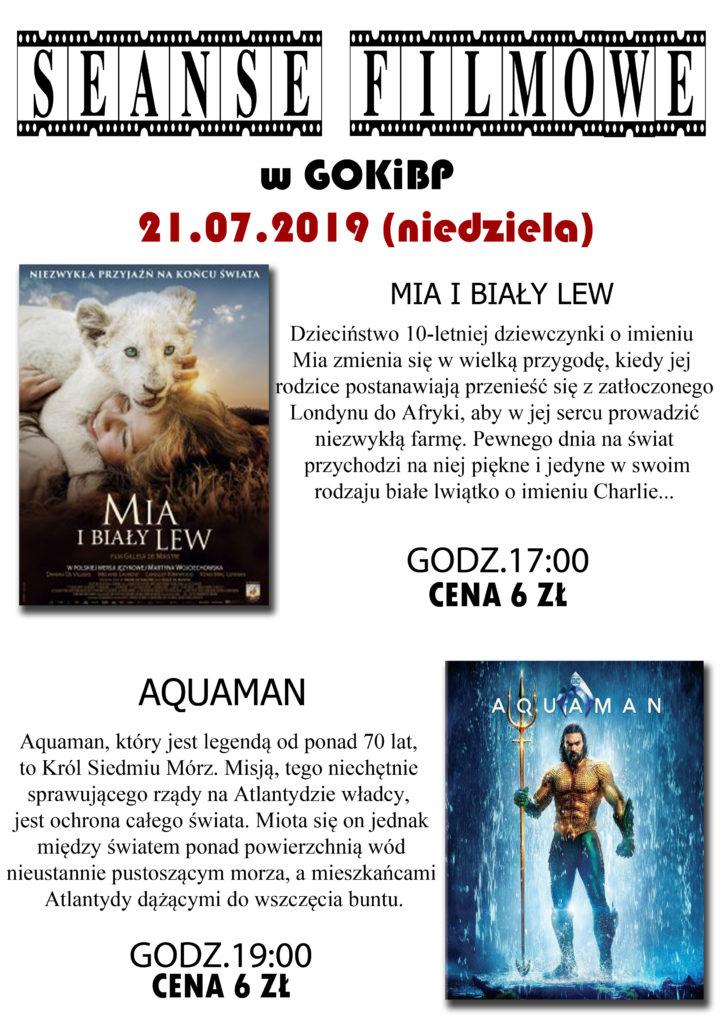 Seanse filmowe w gokibp w babiaku: Mia i biały lew godz 17:00 cena 6 zł, AQUAMEN godz 19:00 cena 6 złotych.