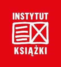Logo Instytut Ksiązki czerwone tło białe napisy