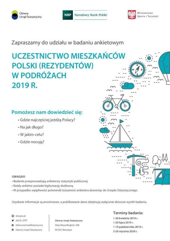 Badania ankietowe GUS dotycz ące podróży. Więcej informacji w GUS.Urząd Statystyczny w Poznaniu informuje, że na terenie Państwa gminy, w wylosowanych gospodarstwach domowych, w dniach 1-20 października, ankieterzy statystyczni realizują badanie ankietowe Uczestnictwo mieszkańców Polski w podróżach.     W związku z tym zwracamy się z prośbą o zamieszczenie załączonej grafiki na stronie internetowej Państwa urzędu oraz w miejscach ogólnodostępnych dla mieszkańców gminy/miasta.     Dodatkowe informacje o aktualnych badaniach ankietowych dostępne są na https://poznan.stat.gov.pl/badania-ankietowe/statystyczne-badania-ankietowe-2019/ oraz https://stat.gov.pl/badania-statystyczne/badania-gospodarstw-domowych-i-rolnicze/