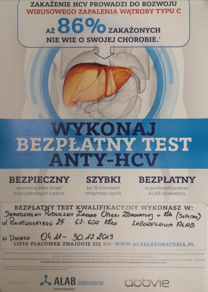 Bezpłatne testy ANTY-HCV Szpital w Koło, ul Poniatowskiego 25 od 4.11 do 30.12.2019 r.