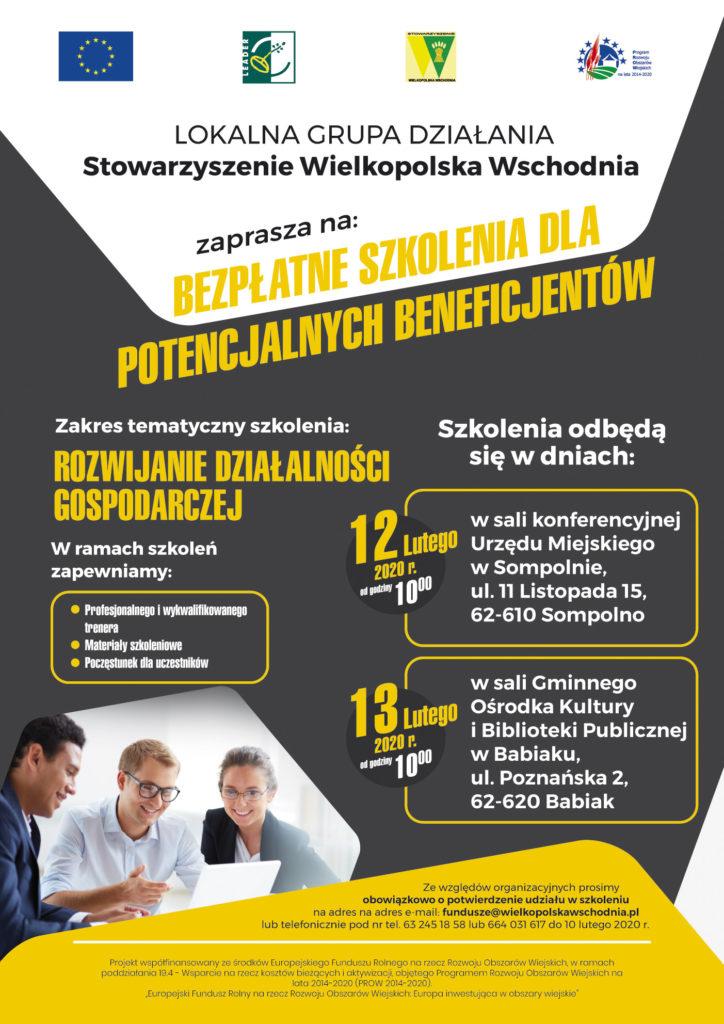 Szkolenia dla beneficjetnów -rozwijanie działalności gospodarczej więcej informacji Wielkopolska Wschodnia tel 63 2451858 lub 664031617