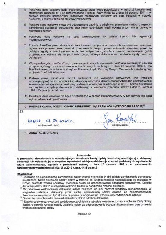 Wzór deklaracji strona 3 - jak wypełnić