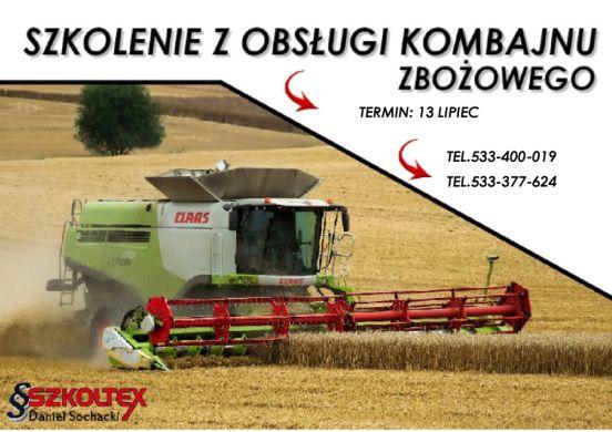 Kurs obsługi kombajnu rolniczego więcej informacji www.szkoltex.pl