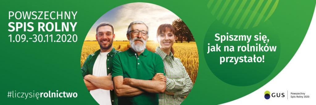 obrazek stroje rolników na tle łanów zboża, pozostałe zielone tłol. Logo Powrzechnego Spisu Rolnego.