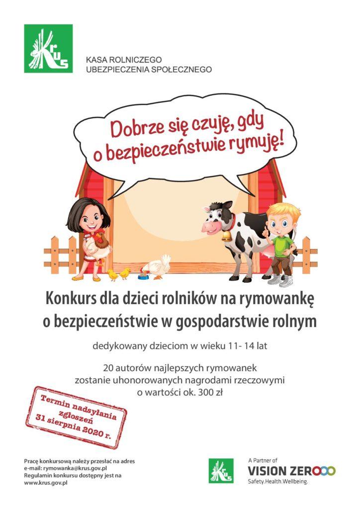 Plakat konkurs rymowanki KRUS