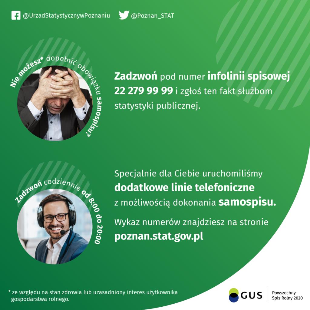 W związku z licznymi sygnałami, że czas oczekiwania na połączenie z rachmistrzem spisowym na ogólnopolskiej infolinii dedykowanej PSR 2020 zniechęca użytkowników gospodarstw rolnych do metody spisz się przez telefon, WBS w Poznaniu uruchamia nowe numery telefonów, pod którymi dyżurować będą rachmistrze spisowi - miasta Konin i powiatu: konińskiego, tureckiego, kolskiego – 63 24 99 403, 63 24 99 412, 63 24 99 423.