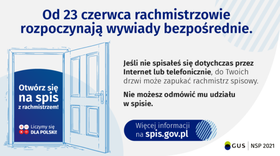 Informacja o wyjściu w teren rachmistrów pisowych. Od 23 czerwca 2021 roku rozpoczynają się wywiady bezpośrednie przeprowadzane przez rachmistrzów.
