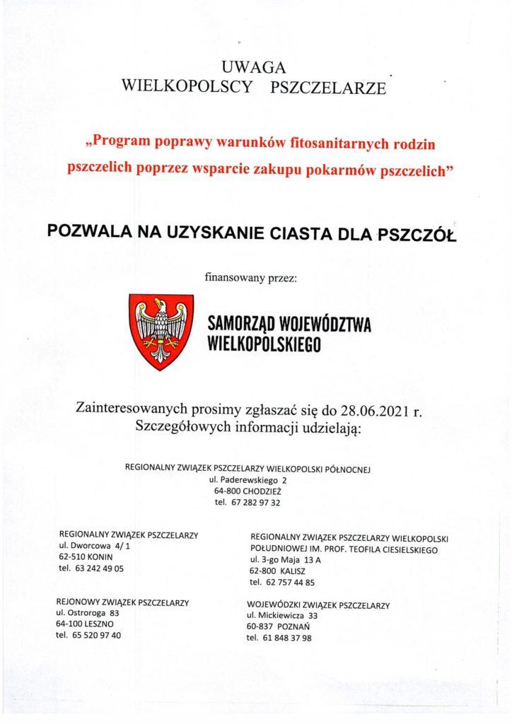 Ulotka Wojewody Wielkopolskiego - pokarm dl pszczół.