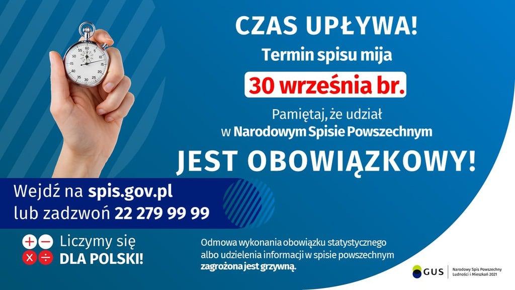 materiał promocyjnu Głównego urzędu statystycznego, niebieskie gło z logem GUS-u i tekstem o zbliżającym się końcu spisu powszechnego.